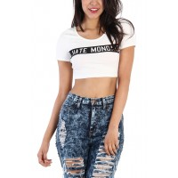 LoveMelrose.com From Harry & Molly | I Hate Monday Crop Top - White