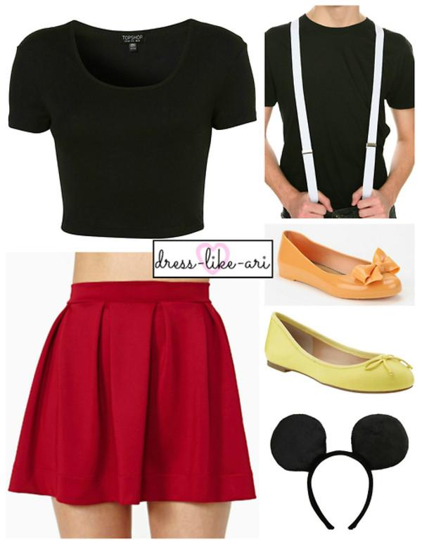 skirt red skirt cropped black t shirt headband skirt with suspenders yellow