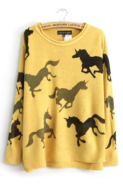 Horses Pattern Pullover Knitted Sweater,Cheap in Wendybox.com