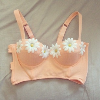shirt daisy floral bralette corset bra peach flowers pink yellow white floral shirt tank top bralet top corset bra t-shirt white tank top pink tank top flower shirt daisy shirt bustier corset top flower busiter orange girly