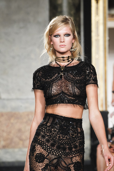 Emilio Pucci Spring 2012 Black Cropped Lace Embellished Top in Black | Lyst