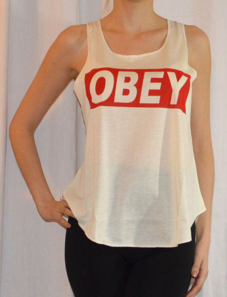 WOMENS STYLISH OBEY PRINT TANK TOPS/VEST IN CREAM COLOUR IN ONE SIZE | eBay