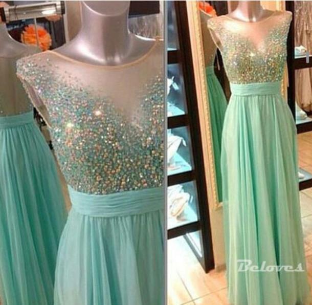 dress light green chiffon prom dress illusion beaded prom dress