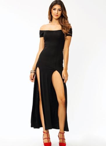 GJ | Sassy Double Slit Maxi Dress $28.00 in BLACK MOCHA NAVY RED WHITE - Maxi Dresses | GoJane.com