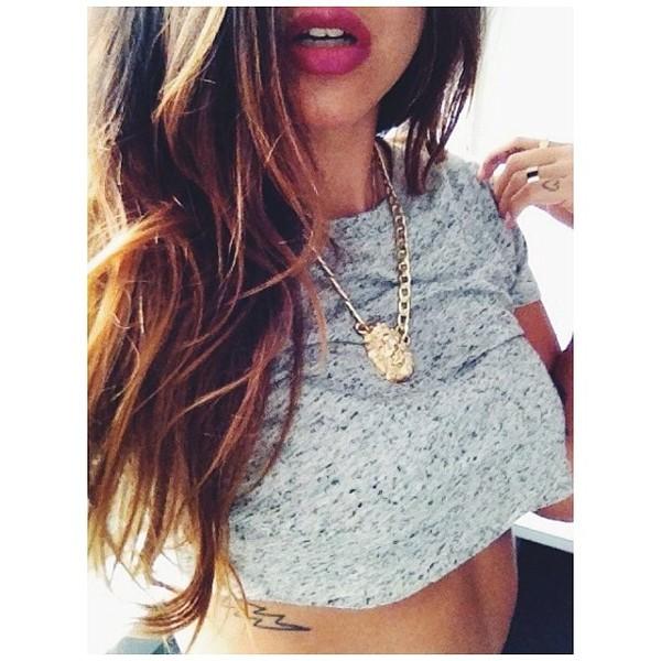 jewels tumblr shirt instagram necklace crop tops