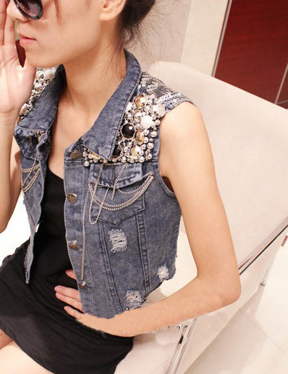 Vogue Punk Girls Bling Sequins Denim Sleeveless Outerwear Jeans Jacket Waistcoat | eBay