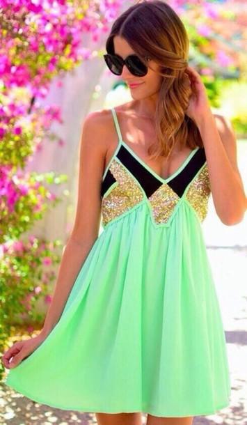 dress green dress gold sequins
