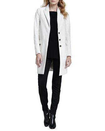 Theory Lavanya Calf-Hair Coat, Toska Sheer-Sleeve Blouse & Fia Stretch-Wool Pants - Neiman Marcus