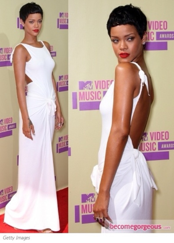 dress rihanna white dress backless dress