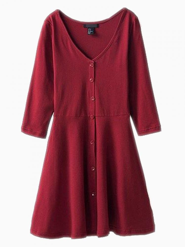 Red Basic Dress With V Neck | Choies