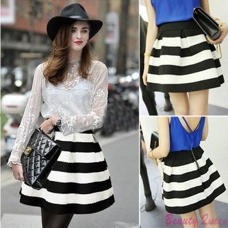 skirt mini skirt high waisted black and white horizontal stripes