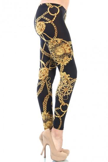 OMG GOLD CHAIN LEGGINGS - BLACK