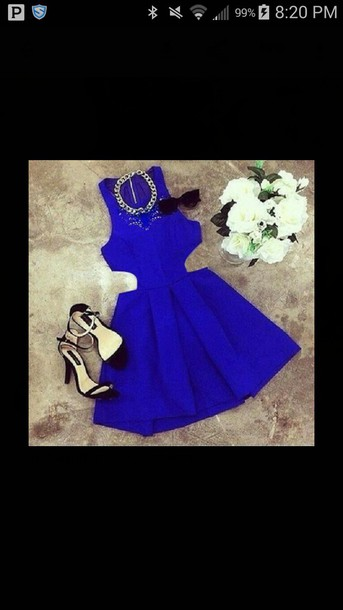 dress blue dress necklace heels