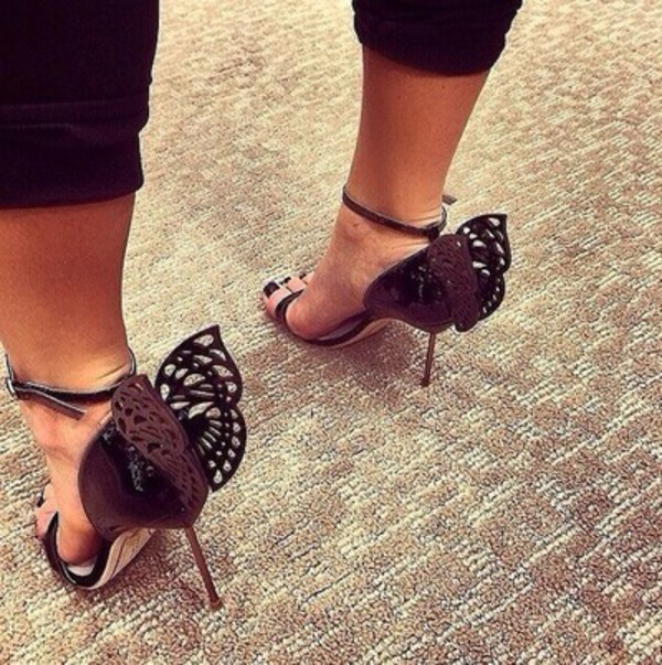 shoes heels sandals butterfly summer fashion black
