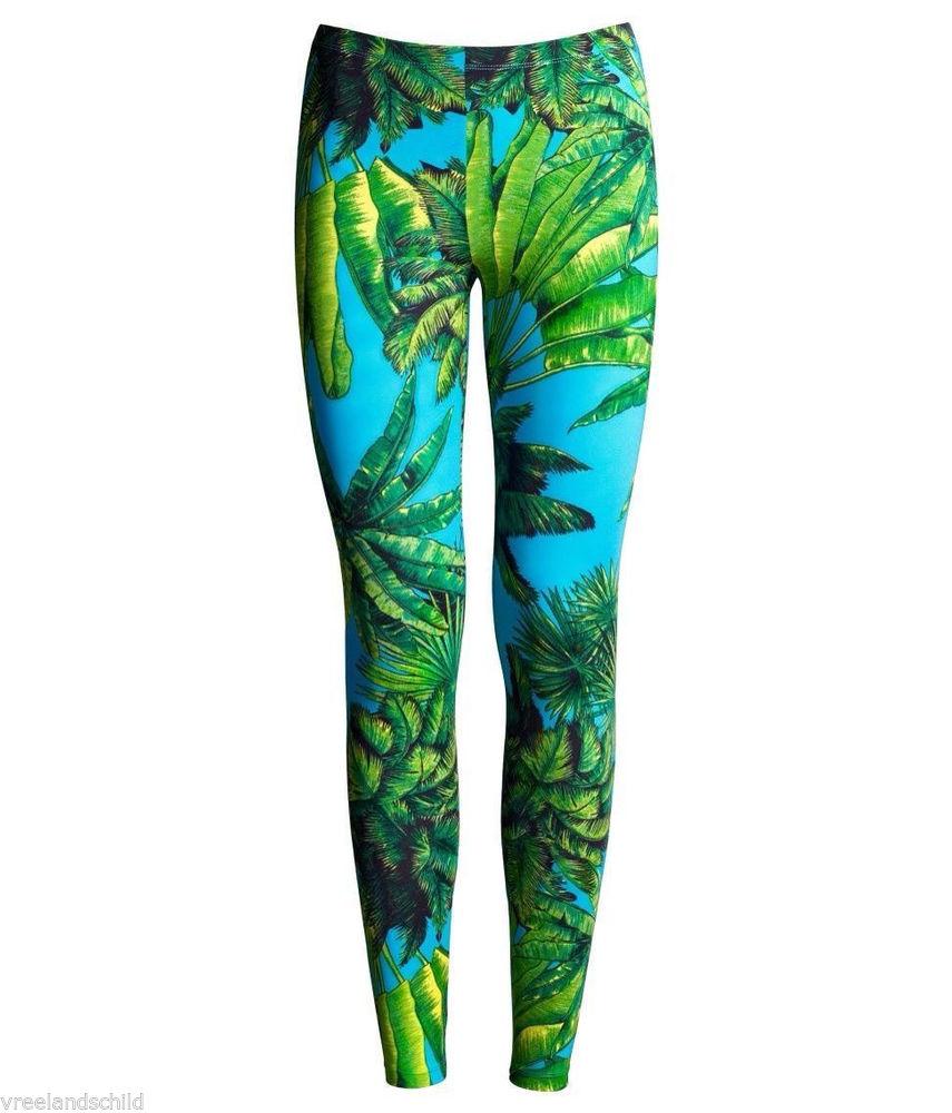 Versace for H M Turquoise Green Tropic Palm Print Leggings US 10 EU 40   eBay