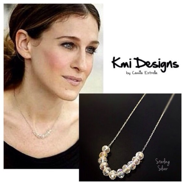 jewels celebrity style carrie bradshaw sex and the city birthday gift raw crystal necklace handmade necklace