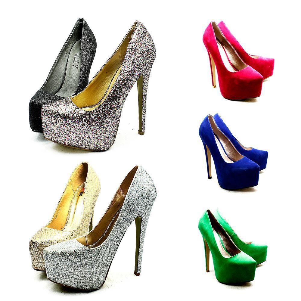 Ladies Mega Double Platform High Heel Court Shoes Pumps | eBay