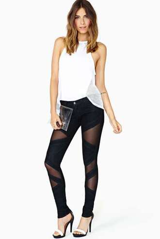 jeans nastygal clothes fall outfits black white ripped jeans high waisted jeans skinny jeans skiny jeans pants skinny pants fancy pants high waisted pants cut-out sheer sheer pants high heels t-shirt white tees women tees cute tees blouse white blouse clear handbag