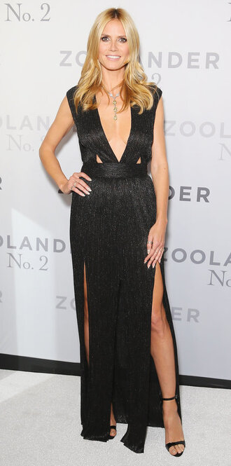dress slit dress gown prom dress black dress sexy dress heidi klum sandals plunge dress plunge neckline maxi dress