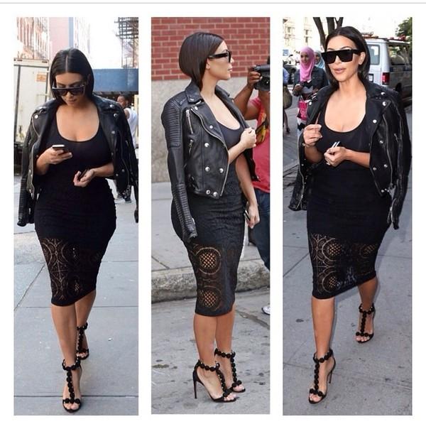 dress kim kardashian black leather jacket jacket shoes