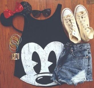 skirt shirt top shorts chuck taylor all stars converse white mickey mouse headband jewelry sunglasses bow minnie mouse hat jewels shoes tank top disney t-shirt black blouse micky mouse tank mickey mouse shirt black tank top black and white summer short me black top mickey mouse tee black mickey mouse tank