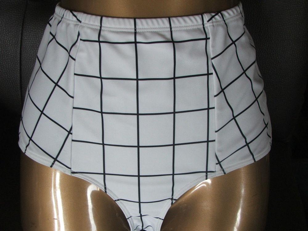 American Apparel Vintage 1950s High Waist Grid Print Bikini Swim Brief Pants   eBay