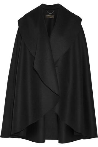 cape black wool top