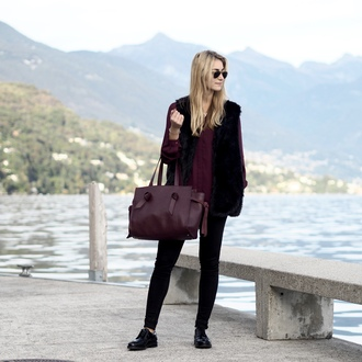 the vogue word blogger shoes bag pants blouse jacket sunglasses fur vest burgundy handbag flats derbies black fur vest