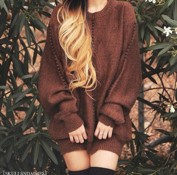 sweater browm oversized sweater