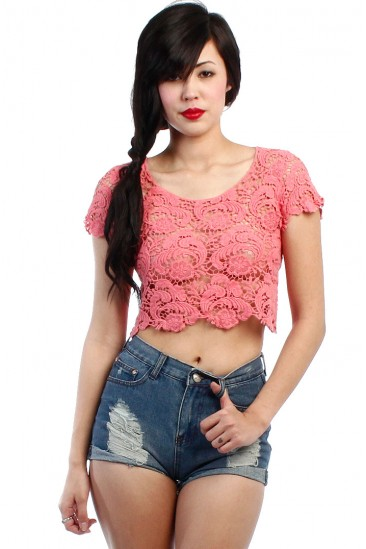 LoveMelrose.com From Harry & Molly   LACE CROCHET CROP TOP - CORAL