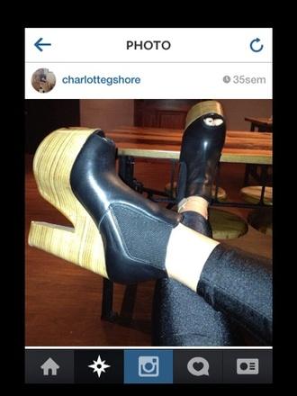 shoes peep toe heels high heels black wooden wedges booties wedge booties ankle boots geordieshore geordie charlotte geordie shore fashion