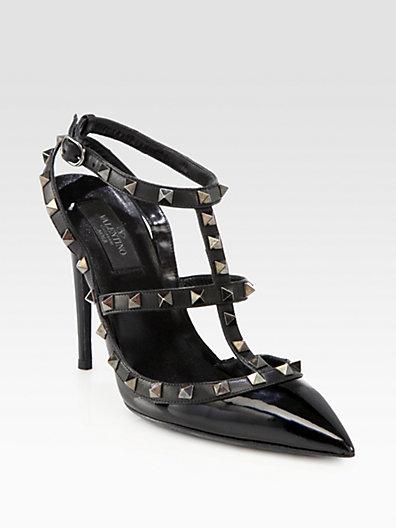 Valentino - Noir Patent Leather Rockstud Slingback Pumps - Saks.com