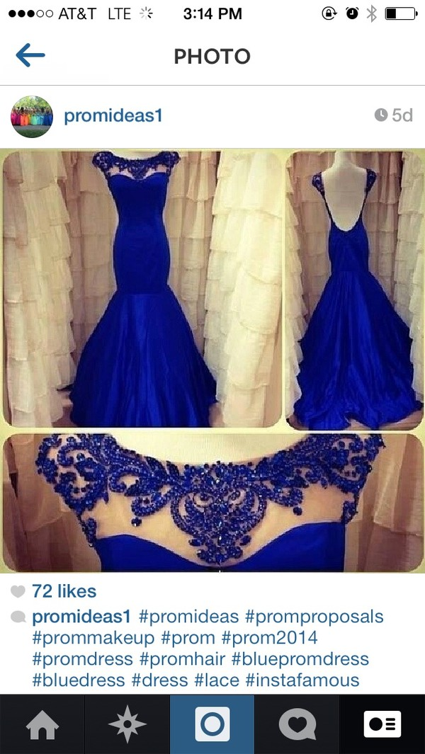 dress royal blue blue prom promdress fancy evening dress lace long prom dress blue/indigo blue dress prom dress lace pageant dress elegant royal blue dress prom dress blue open back mermaid prom dress beading at the neck lline.   floor o length electrick blue sherri hill mermaid prom dress