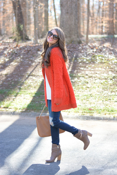 southern curls and pearls blogger red coat fuzzy coat cardigan tank top sunglasses bag shoes jewels make-up top