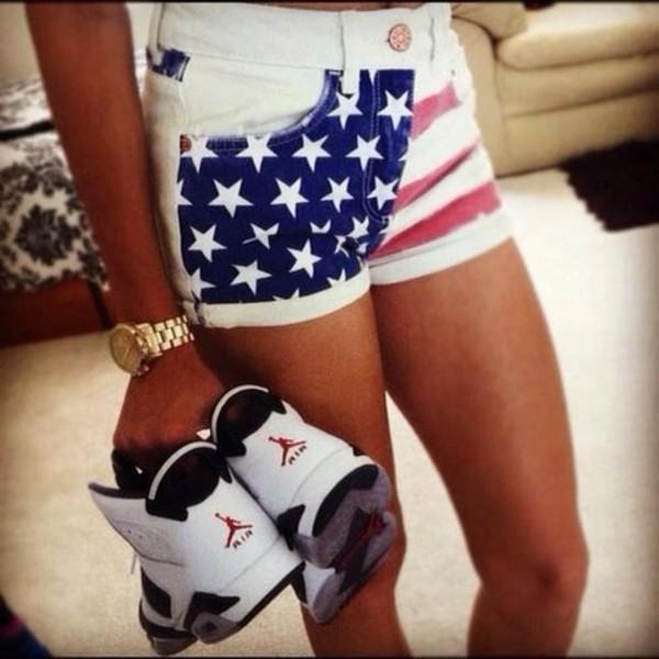 shorts american flag american flag shorts gold watch air jordan shoes jewels