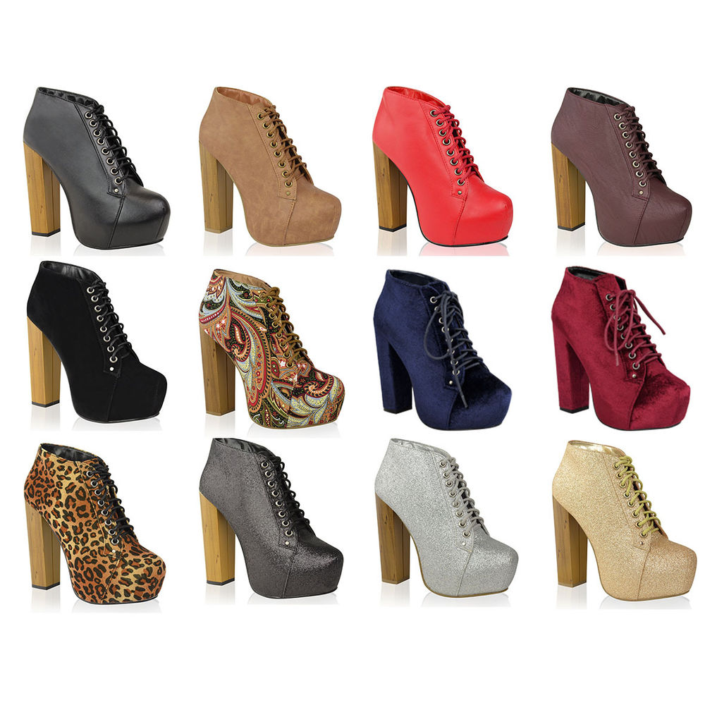 Womens Ladies Wooden Block High Heel Platform Lace Up Ankle Boots Shoes Size   eBay