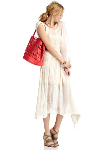 Women's Hot Coral Faux Leather Lasercut Large Tote With Pouch   Bonnie by Sole Society