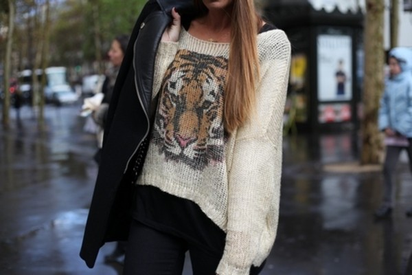 sweater oversized sweater tiger white