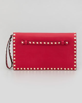 Valentino Rockstud All-Around Flap Wristlet Clutch Bag, Pink - Neiman Marcus