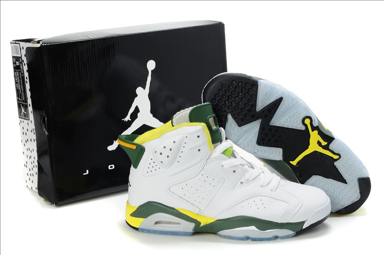 Original Air Jordan Retro 6 Olympic 2013White Yellow Dark Green 384664-133 Shoes [1JSMAJR0009] Images On Show  : - 1JordanShoesMall.com