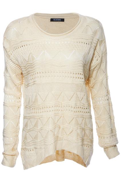 ROMWE | Asymmetric Hollowed Cream Jumper, The Latest Street Fashion