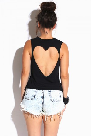 Trendy Cute black heart cut out back muscle tank top for cheap. Womens Clothing -1015store