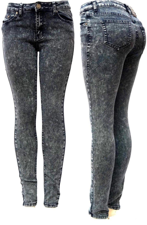 Yes Me Premium Soft Stretch Black Acid Wash Denim Jeans