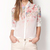 White Long Sleeve Floral Chiffon Blouse - Sheinside.com