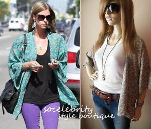 Green Floral Kimono Cardigan Shirt Top Shrug 6 8 10 12 | eBay