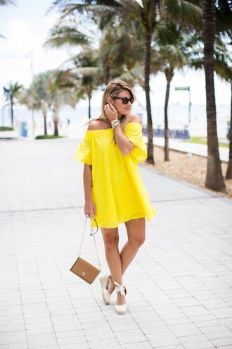 shoes espadrilles wedges yellow dress off the shoulder yellow dress chain strap bag brown shoulder bag tory burch bag soludos espadrilles off the shoulder off the shoulder dress summer dress lace up wedges tie up espadrilles tory burch rayban rayban wayfarer