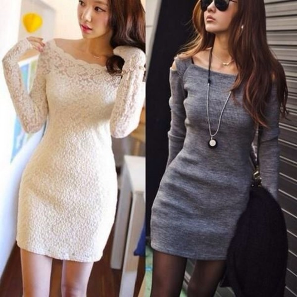 dress grey dress sweater dress winter outfits fall outfits cute dress grey casual short dress elegant stylish cute long sleeves feminine grey trendy basic fashion style trendsgal.com knitted dress minimalist black and white