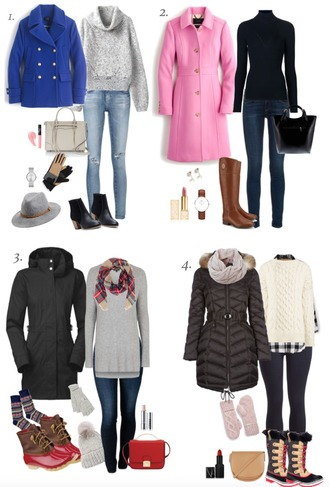 lilly's style blogger sweater jeans shoes bag hat gloves jewels coat make-up scarf socks duck boots winter boots