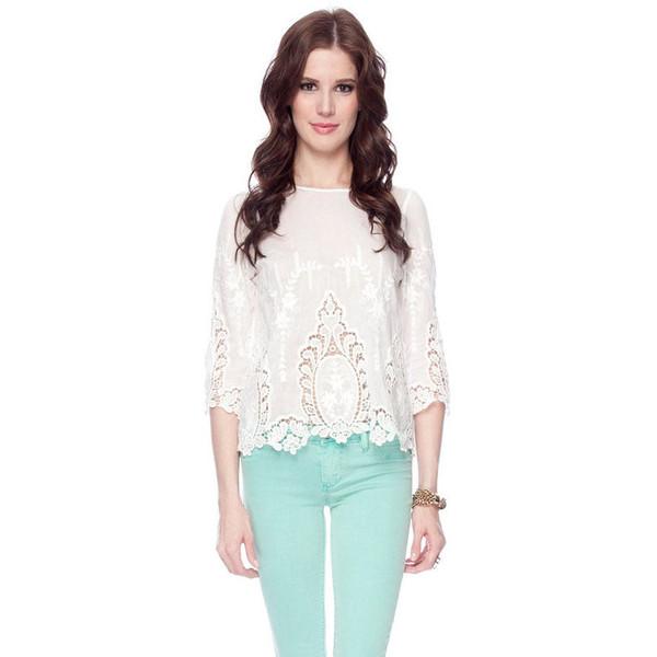 Dolce Vita Deidra Embroidered Lace Blouse - Polyvore