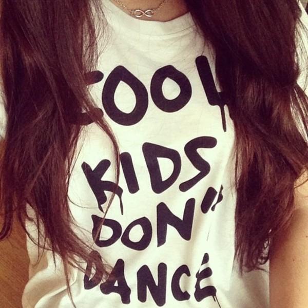 sweater white black crewneck crewneck sweater cool kids don't dance shirt t-shirt top
